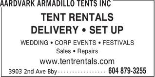 Yellow Pages listing: Aardvark Tents