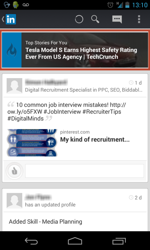 LinkedIn homepage carousel on Mobile. Want to view that really interesting article which just got replaced? Too bad.