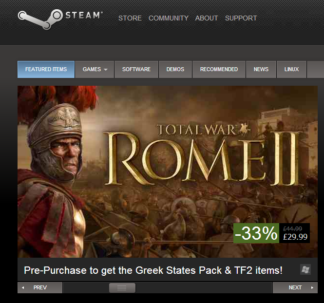 Homepage carousel on Steam. Slider paging controls are a dream to use. (Side note: Mmmmm... Rome Total War II. Time to dust off the Carthaginian War Elephants).