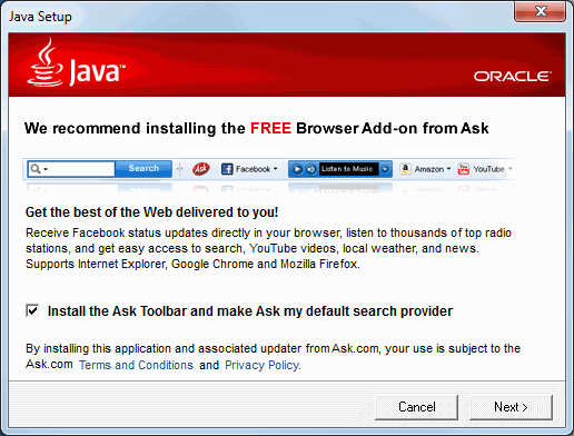 Image of the dreaded Ask Toolbar installation option during a Java update
