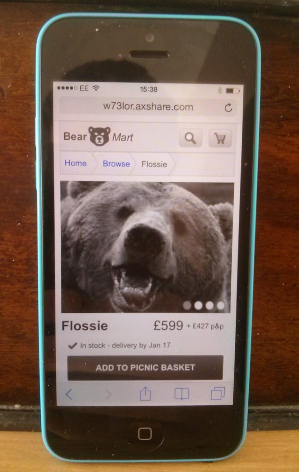Bear Mart: product details page